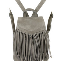 Gray PU Fringed Drawstring Backpack