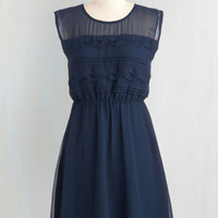 Vintage Inspired Mid-length Sleeveless A-line Vogue Wave Dress