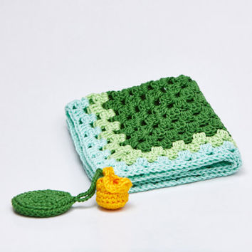 Green Crochet Security Blanket Lovey Baby Huggy Suggle Quilt Crochet Comforter Crown Water Lily