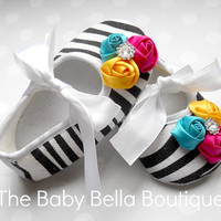 Chic Couture Baby Girl Zebra Crib Shoes, satin Rosette shoes.