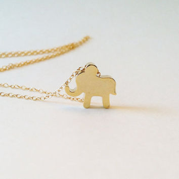 Gold Lucky Elephant Necklace, Good Luck Charm