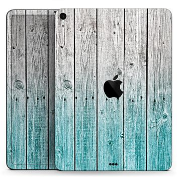"Trendy Teal to White Aged Wood Planks - Full Body Skin Decal for the Apple iPad Pro 12.9"", 11"", 10.5"", 9.7"", Air or Mini (All Models Available)"