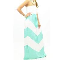 Peeka Mint Chevron Maxi Dress