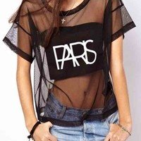 Paris Print Short Sleeve Mesh T-shirt