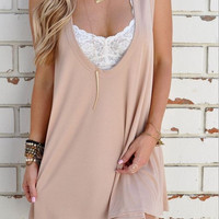 Plain Causal Pleated Dress