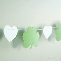 St Patrick's Day Garland Irish Garland Green Shamrock Bunting Heart Green Clovers garland Irish bunting paper 6 Foot or 8 Foot