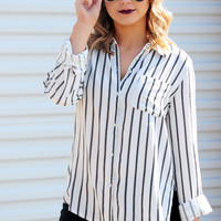 Manhattan Babe Blouse: Black/White