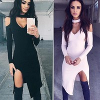 Club Hot Sale Long Sleeve Split Autumn One Piece Dress [11640596052]