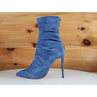So Me Oda Blue Vegan Suede Scrunch Top High Heel Ankle Boots