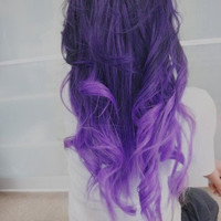 """22"""", Ombre Hair Extensions//DipDye//Dark Brown Hair with dark to light purple Fade//(7) Piece Set"""