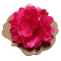 Hot Pink Satin & Mesh Lapel Flower, Mens Lapel Flower, Mens Lapel Pin, Mens Boutonniere, Wedding Boutonniere, Wedding Lapel Pin