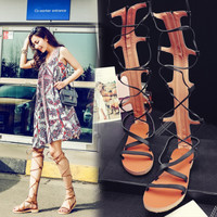 Summer Fashion Women's Shoes - Lace Up Sandals for summer Roman style knee length = 4777190148