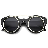 Limited Retro Steampunk Round Cat Eye Clip On Sunglasses 9957