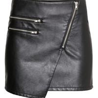 H&M - Skirt in Imitation Leather - Black - Ladies