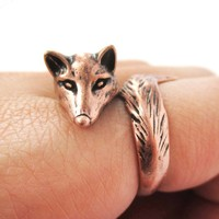 3D Fox Wrapped Around Your Finger Shaped Animal Ring in Copper   US Size 5 to 9