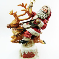 Poseable Santa Riding a Reindeer Vintage 1991 Clothtique 713058 Possible Dream Christmas Figurine Porcelain Base Original Box Holiday Decor