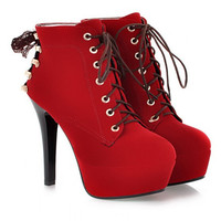 Plus Size 34-43 Fashion Sexy Red Suede Winter With Fur Ankle Boots High Heel Red Bottom Shoes Stiletto Shoes Platform Boots