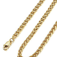 FUNRUN 51-4mm Mens Womens Stainless Steel Wheat Link Chain Necklace 20'' 22'' 24'' 28'' 30'' Gold-tone