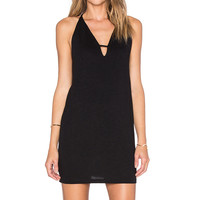 Lanston Deep V Mini Dress in Black