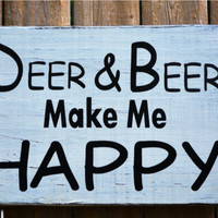 Rustic Wood Home Decor Signs Humorous Bar Signs Funny Deer and Beer Happy Place Hunting Plaque Gift Guys Dad Outdoors Man Men Cave Outdoor