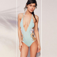 Vintage Retro One-piece Swimsuit Swimwear Bathing Suit For Women 071901
