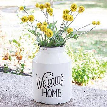 Welcome Home Enamel Wall Milk Can