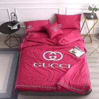 Red Luxury Gucci Designer Home Blanket Quilt coverlet 2 Pillows Shams 4 PC Bedding Set