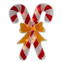Lighted Double-Sided Holographic Candy Cane Christmas Window Silhouette
