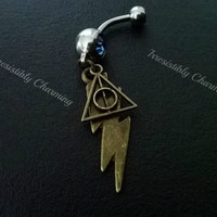 Sale........Harry Potter symbol Deathly Hallows and lightning bolt 14 gauge stainless steel belly navel ring, body jewelry, 14g