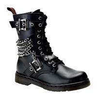DISORDER-204 Black Military boots - Gothic clothing, Platform boots, creepers shoes, platform shoes, gothic boots and shoes.