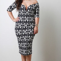 Women's White And Black Geometric Off Shoulder Dress In Plus Sizes