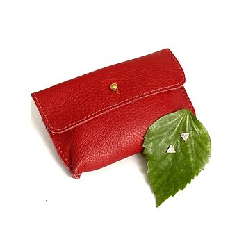 Red leather credit card pouch & gold triangle studs