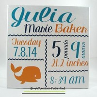 Personalized Baby Stat Canvas, Birth Announcement, Nursery Art 12 x 12 Canvas-Whale from SimpleXpressions-Personalized!