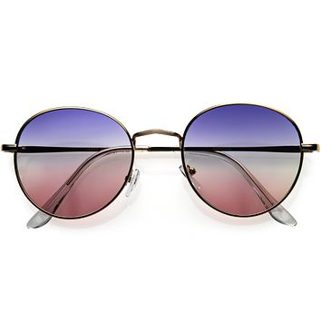 Slim Metal Gradient Colored Lens Round Sunglasses D119