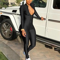 FQLWL Long Sleeve Black Sexy Bodycon Jumpsuit For Women Zipper V Neck Skinny Rompers Womens Jumpsuit Female Streetwear Overalls