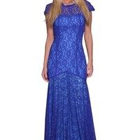 Beautifly Women's Beautiful Thick Blue Lace Evening Gown Dress,Blue,4