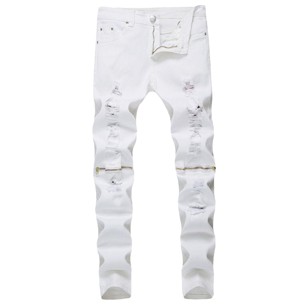 Image of Worn-out Hole Mid Waist Straight Leg Zipper Jeans for Men