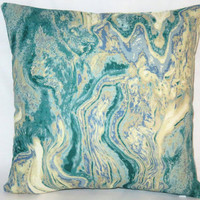 "Aqua Marble Pillow, 17"" Square Cotton Bark Cloth in Blue Green Cream Tones with Zipper Cover or Insert Included, Ready Ship"
