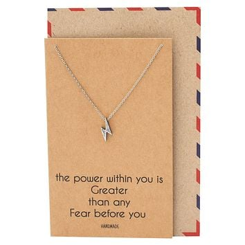 Bambi Power Lightning Pendant Necklace, Necklace for Women, Silver Tone