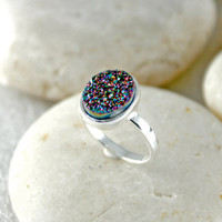 Druzy Ring,Drusy Ring,Drusy Quartz,Stone Ring,925 Sterling Silver!!