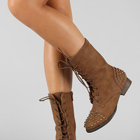 Bamboo Rascal-01 Studded Lace Up Military Mid Calf Boot