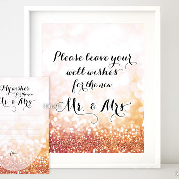Please leave your well wishes for the new Mr & Mrs in rose gold glitter
