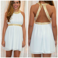 Get Your Shine On White Sequin Cocktail Dress