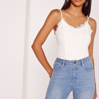 Missguided - Lace Overlay Bodysuit White