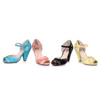 "4"" Color Block Retro Open Toe Heel"