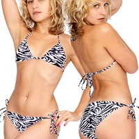 rntp07 - Nylon Tricot Zebra Print Side-Tie Bikini Bottom