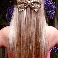 Gold Sparkly Bow Hair Clip Headpiece from LullaBellz