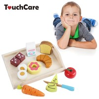Kids Wooden Toys Children Simulation Kitchen Tool Pretend Play Cutting Fruit Vegetable Miniature Food Wood Cooking Toy