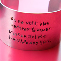 Little prince inspired Antoine saint exupery quote one of a kind aluminum bracelet 1 1/2 inch wide
