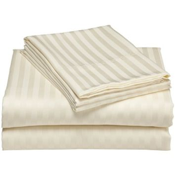 Elite 300 Thread Count Wrinkle-Resistant Stripe Cotton Queen Ivory Bed Sheet Set - $47.99 : Homelinencollections.com, the one stop site for all things home!